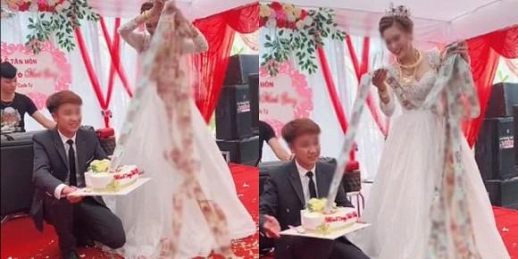 Cổ và tay đeo đầy vàng, cô dâu may mắn còn được chồng tặng chiếc bánh kem ngập tiền trong tiệc cưới